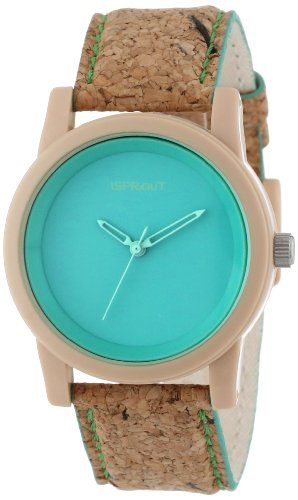 Sprout Unisex ST/5516GNCK Green Dial Cork Strap Eco-Friendly Watch