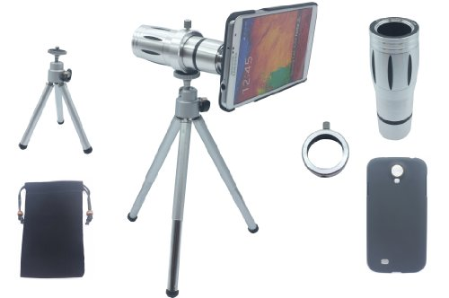 Lesung®12X Magnifier Zoom Aluminum Manual Focus Telephoto Telesocpe Phone Camera Lens Kit With Tripod For Samsung Galaxy Note2(A)