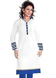 Isha Enterprise Women's White Colour Semi Stitched Straight Kurti