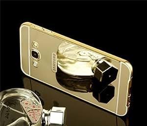 Samsung Galaxy J2 Case Cover, Luxury Metal Bumper + Acrylic Mirror Back Cover Case For Samsung Galaxy J2 - Gold