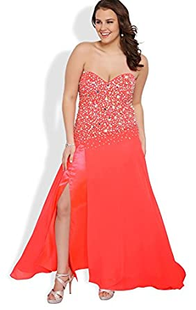 Deb junior plus size long prom dress with stone bodice and side slit