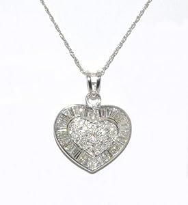 14K White Gold Diamond Heart Charm