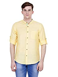 4Stripes Men's Cotton Linen Shirt (4ssh027_L_YELLOW)