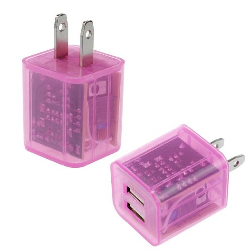 Nicezone(Tm) 1Pc Newest Led Flashing Lights Dual Port Usb Wall Charger For Iphone Samsung (Hot Pink)