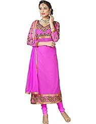 Women's Dark Pink Russel Net & Georgette Straight Fit Semi Stitched Salwar Suit