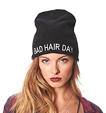 black bad hair day text fashion knit beanie skull cap at