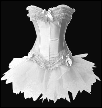 Forever Young Burlesque Moulin Rouge Lolita FANCY DRESS Corset & Tutu (UK Size 10, White Corset & White Tutu)