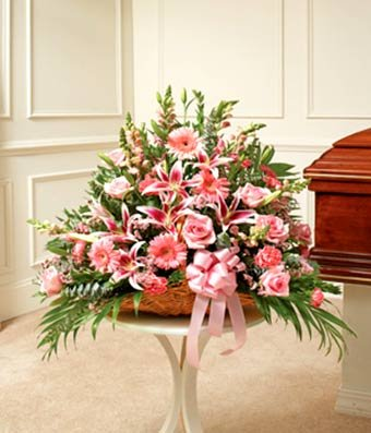 Flowers – Pink Mixed Fireside Basket