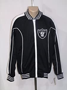 OAKLAND RAIDERS MEDIUM FULL ZIP ZIPPER EMBROIDERED SWEATSHIRT LIGHT JACKET NWT! by NFL