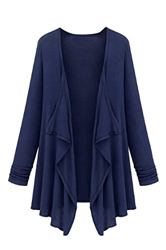 Pink Queen Women's Drape Pleated Casual Open Cardigan Shawl Coat XL Navy (Ref Queen compare prices)