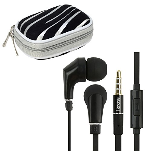 Ikross In-Ear 3.5Mm Noise-Isolation Stereo Earbuds With Microphone (Black / Black) + Silver Zebra Accessories Carrying Storage Eva Case For Htc One (E8)/ (M8)/ (M7), Desire 610, Desire / Desire 601, One Max / Mini Smartphone Cellphone Tablet And Mp3 Playe