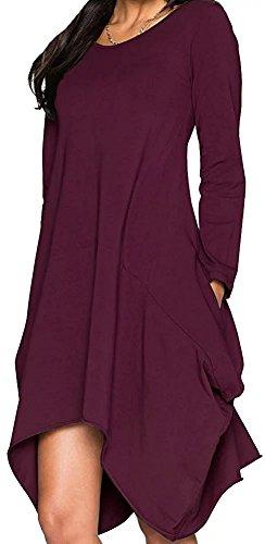 Women Asymmetrical Loose Long Sleeve Pockets Tunic Shirt Dress Purple 2XL