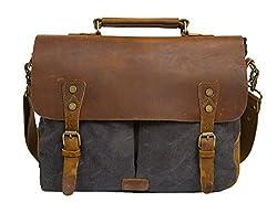 Ecosusi Men's Vintage Genuine Leather Shoulder Messenger Laptop Briefcase Satchel Bag, Gray