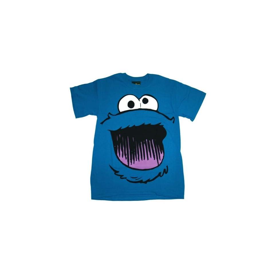 Sesame Street Cookie Monster Smile Face T shirt (Small, Navy Blue)
