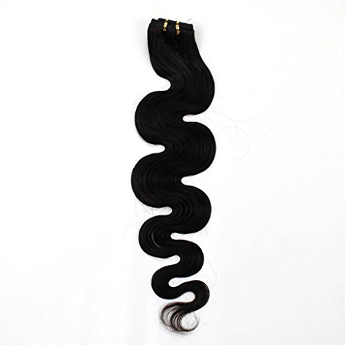 "Beauty Salon Hair 22"" 100G 100% Remy Body Wave Human Hair Extension Weft #1B Natural Black front-82666"