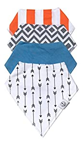 Hamptons Baby Co. Baby Bandana Drool Bibs & Absorbent Toddler Feeding Bibdanas 4-pack with Adjustable Snaps