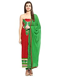 Lookslady Embroidered Red Faux Georgette Semi Stitched Dress Material