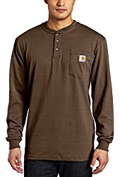 Carhartt Men's Big & Tall Workwear Pocket Long Sleeve Henley Midweight Jersey Original Fit K128