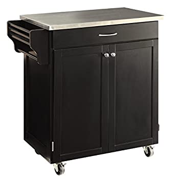 Oliver and Smith - Nashville Collection - Mobile Kitchen Island Cart on Wheels - Black - Stainless Steel Top - 33
