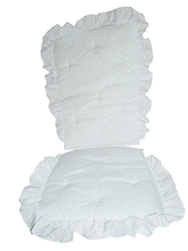 Baby Doll Bedding Carnation Eyelet Adult Rocking Chair Cushion Pad Set, White (Rocking Chair Pad White compare prices)