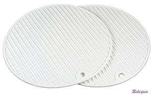 Bakerpan Silicone Pot Holder, 7 Inch Round Pot Mat, Trivet, White, 2 Pack by Bakerpan
