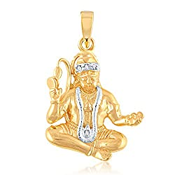 VK Jewels Gold and Rhodium plated LORD HANUMAN Pendant for Women - PS1011G [VKP1011G]
