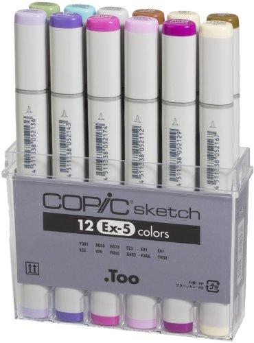 Copic Markers 12-Piece Sketch Set, Ex-5