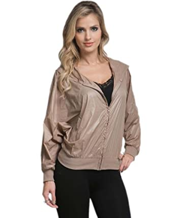 G2 Chic Women's Zip Up Wind Breaker Jacket(OW-JKT,LBN-S)