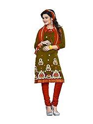 Shree Vardhman Synthetics Mehndi Semi Cotton Top Straight Unstiched Salwar Suit Dress Material
