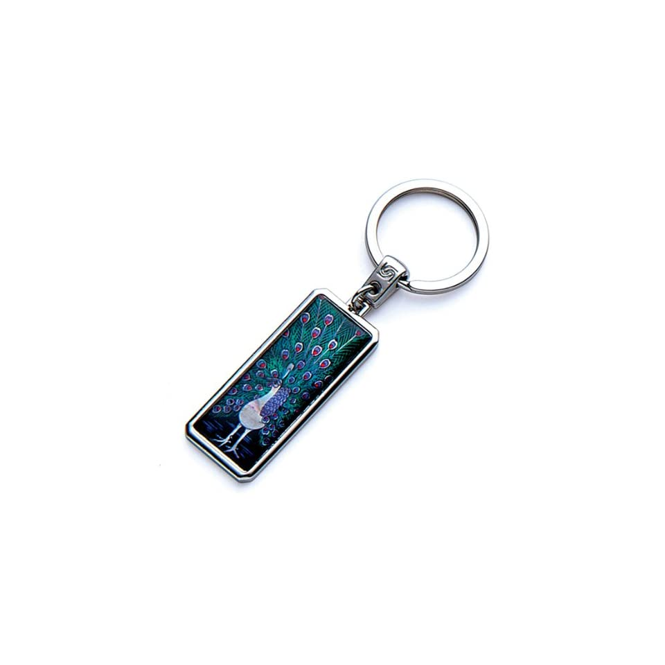 Mother of Pearl Peacock Design Handmade Craft Luxury Novelty Cool Metal Keychain Key Ring Fob Holder