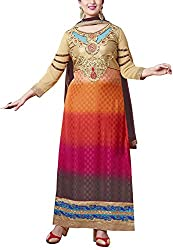 Shree Sai Exports Women's Georgette Unstitched Dress Material (Gold)
