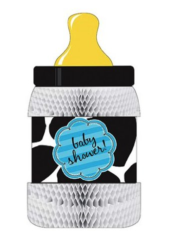 Creative Converting Baby Boy Cow Print Bottle-Shaped Honeycomb Centerpiece - 1