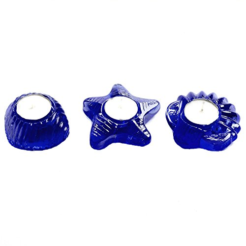 Sea Glass Starfish and Seashell Tea Light Candle Holder Set of 3 (Cobalt) (Cobalt Blue Tea Light Holders compare prices)