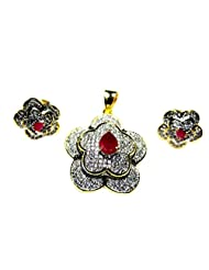 Poddar Jewels Cubic Zirconia Red Pendant Set - B00TKU64MY