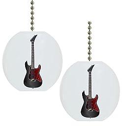 Set of 2 Black Guitar Solid Ceramic Fan Pulls