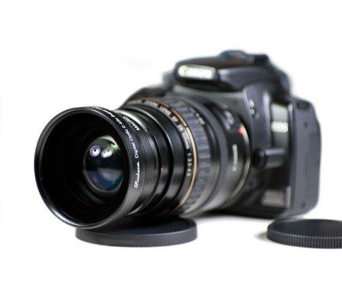 0.45x Multicoated Weitwinkel & Makro Vorsatzlinsen 58mm - 2in1 - Weitwinkelkonverter für z.B. Canon EOS 450d 1000d 50d 40d, Nikon D90 D80 D60 D300 - und allen Objektiven mit 58mm Filtergewinde