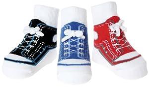 """Baby Emporio - 0-9 meses - 3 pares de calcetines para niño """"Zapatillas de deporte"""" - Suelas anti deslizantes - bolsa de regalo de organza en Bebe Hogar"""