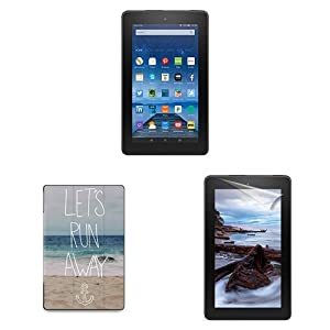 """Fire Essentials Bundle including Fire 7"""" Tablet without Special Offers, caseable Let's Run Away Sandy Beach Cover and Screen Protector"""