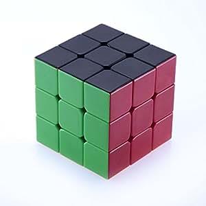 Sisweekly - LingyunV2 3x3x3 Rubik's cube magique professionnel par Lujex - pas besoin de sticker-Couleur Noir-1 bracelet de gel de silice(couleur aleatoire)
