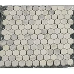 "BIANCO WHITE CARRARA MARBLE HEXAGON 1"" POLISHED MOSAIC TILE"