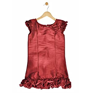 maroon dupion a line ruffle dress, 5-6 years