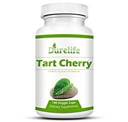 Tart Cherry Extract Supplement 180 Count 1,000 mg per Veggie Capsule By DureLife, It Is NON GMO - GLUTEN FREE And Full Of Antioxidants and Flavonoids, Support Immune System Muscles and Joint Health