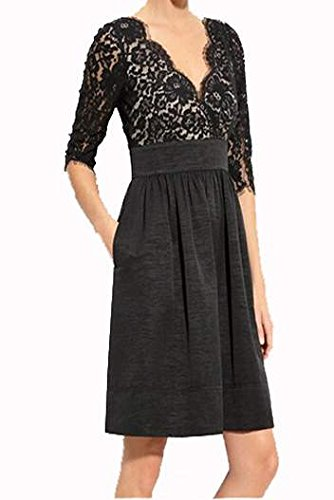 ANGVNS Women Casual 3/4 Sleeve V-Neck Lace Patchwork Dress for Work Cocktail Party