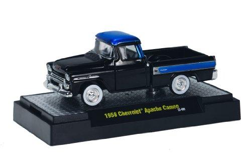 1958 Chevrolet Apache Cameo (Black & Blue) * M2 Machines Auto-Trucks * 2013 Castline Premium Edition 1:64 Scale Die-Cast Vehicle (12-09)