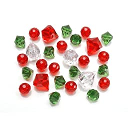 Bulk Buy: Darice DIY Crafts Diamond Gems Acrylic Red, Green, Clear Mix 7 oz. (6-Pack) 1151-67