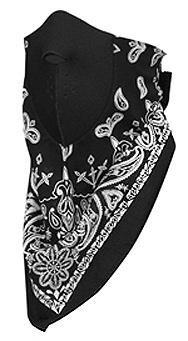 Zan Headgear NeoDanna Black Paisley 100% Cotton Bandanna with Neoprene - One Size