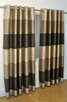 "Brazil Brown Beige Cream Striped Faux Silk Lined Ring Top 90"" X 72"" Curtains #oir from PCJ SUPPLIES"