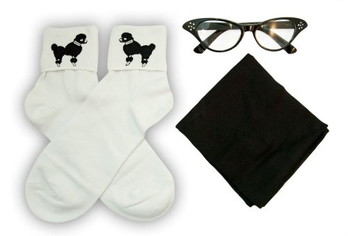 Hip Hop 50S Shop Adult 3 Piece Accessories - Adult Size Black Glasses, Socks And Scarf