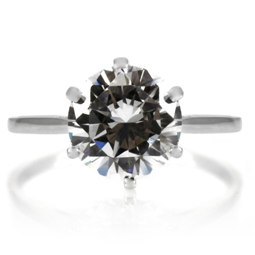 Fredericka's 2.5 Carat Promise Ring - Petite .925 sterling silver jewelry, Rhodium electroplated Size 9
