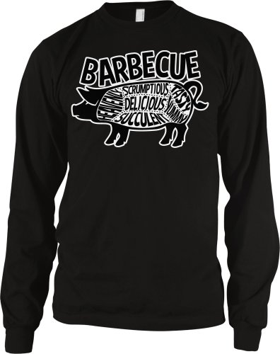Barbecue Pig Parts Men'S Long Sleeve Thermal, Tasty, Yummy, Delicious, Heavenly, Succulent, Scrumptious, Parts Of Pig BBQ Design Men'S Thermal Shirt (Black, Medium)